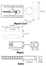 Aleph DC-4511 Pull Apart Surface Mount Magnetic Alarm Contact - Dimensions